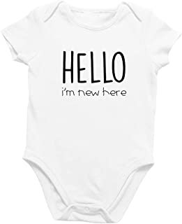 Onesie Organic Baby One Piece Short Sleeve Cute Trendy Minimal Bodysuit 0-12 Months - Hello I'm New Here