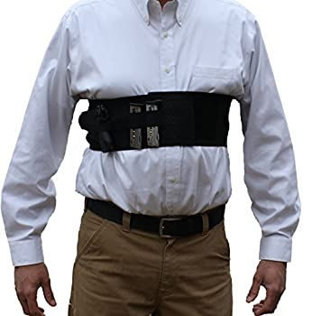 AlphaHolster Concealed Carry Chest Band Gun Holster w/Removable Suspender- Cool Elastic Material  Black Large