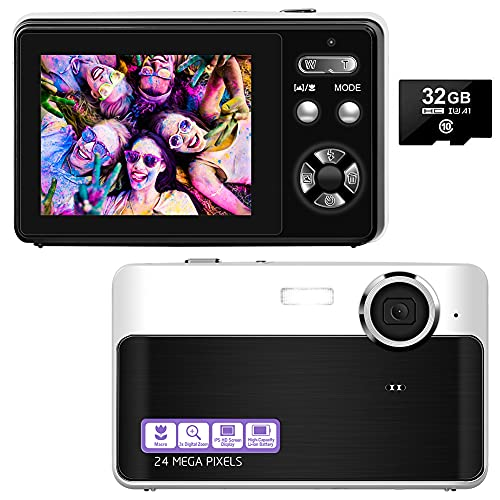 Cámaras digitales compactas de 24 MP, recargables, pantalla TFT de 2,4 pulgadas, cámara de fotos digital con tarjeta SD de 32 GB y cámaras digitales para principiantes, jóvenes, niños