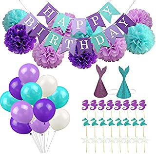 Yostyle Birthday Decorations Party Supplies,Happy Birthday Banner,9pcs Pom Poms Flowers,24pcs Glitter Cupcake Toppers,2pcs Glitter Mermaid Party Hats,40 Latex Balloons for Kids Girls Party Favors
