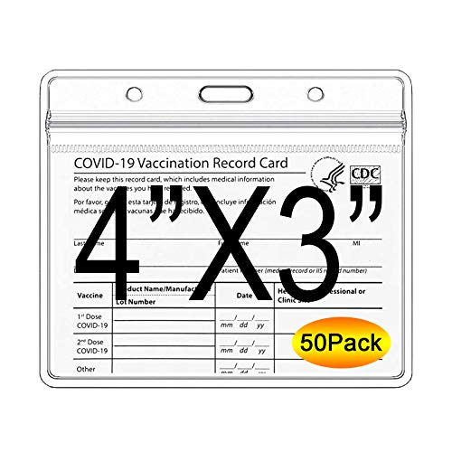 CDC Vaccination Card Protector - 4X3 Inches Immunization Record Vaccine Cards Case, Vaccine ID Card Name Tag Badge Holder Clear Vinyl Plastic Sleeve with Waterproof Type Resealable Zip - 50 Pack