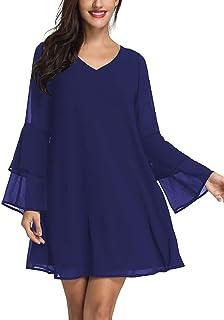 Bdcoco Womens V Neck Long Evening Dress Short Sleeve