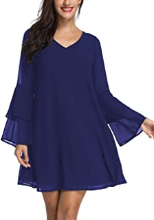 Womens Long Sleeve Tunic Dress V Neck Summer Chiffon Short Cocktail Casual Evening Loose Swing Solid Dress