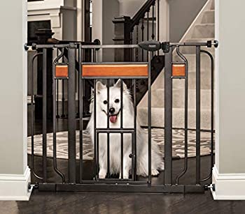 Carlson Home Design Extra Wide Walk Thru Pet Gate with Small Pet Door Includes Décor Hardwood 4-Inch Extension Kit 4-Inch Extension Kit 4 Pack of Pressure Mount Kit and 4 Pack of Wall Mount Kit
