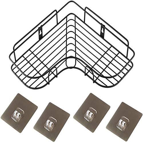 Bandeja de ducha de esquina Cuarto de baño autoadhesivo Estante de esquina para ducha Organizador de baño sin perforación 304 Organizador de almacenamiento de acero inoxidable ( Color : Black )