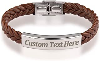 GAGAFEEL Custom Leather Bracelet Classic Braided Rope Engraved Name Message Men Women Stainless Steel ID Cuff Bangle Xmas Birthday Gift for Bestfriend Couple
