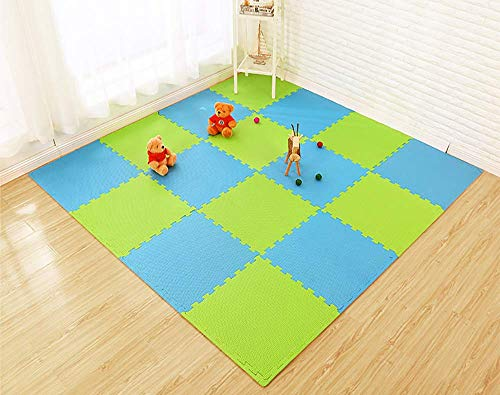 Lulupila puzzelmatten speelmatten kruipmatten speeltapijt beschermmatten 20-delige set mat onderlegmatten vloerbescherming matten trainingsmatten gymnastiekmatten yogamatten groen/blauw.