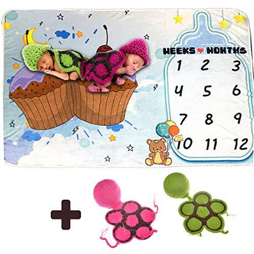 YAOXI Bebé Milestone Blanket, Recién Nacido Fotografía Prop De Fondo Acogedor Bedure Lanzar Manta 0-3 Bebé Traje De Punto De Fotografía Dos Juegos + Hito Manta,B