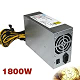 Espeedy Fuente de alimentación minera,Fuente de alimentación 1800W para máquina minera Bitcoin GPU Open Mining Ethereum ZEC 90 Gold