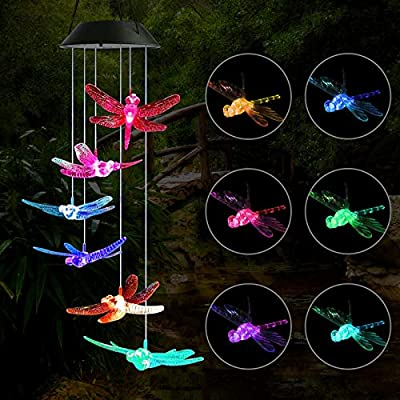 FlyCloud Wind Chime, Solar Hummingbird Dragonfly Wind Chime Mobile Wind Chimes Outdoor, Color Changing LED Hanging Lamp Wind Chimes for Outdoor Gardening Lighting Decoration Home