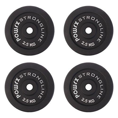 POWRX Discos pesas hierro fundido 10 kg set (4 x 2,5 kg) - Ideales para mancuernas y barras con diámetro 30 mm + PDF workout (Negro)