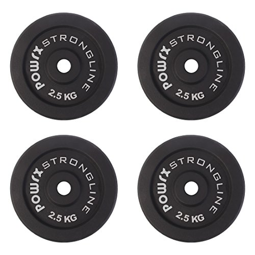 POWRX Discos Hierro Fundido 5-30 kg Set - Pesas Ideales para Mancuernas y Barras con diámetro 30 mm + PDF Workout