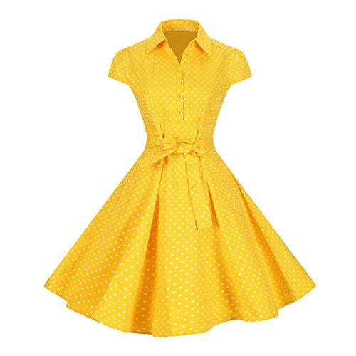 Lolichy dames 40's 50's Retro Vintage stijl klassieke riem Swing Shirt jurk