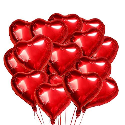 O-Kinee Globos de Papel de Aluminio,30 pcs Globos en Forma de Corazón 18 Pulgadas,Globos de Corazón,Globo de Lámina de Corazón,para Fiesta,Cumpleaños,día de San Valentín,Boda,Compromiso (rojo)