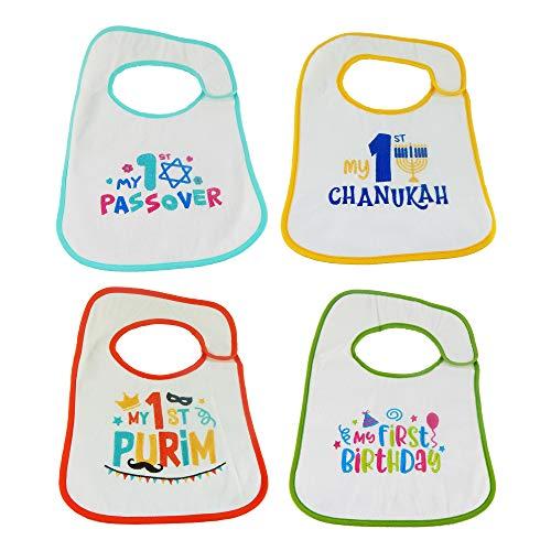 Hello Baby Wonder Babys First Holiday Chanukah, Passover, Purim, & Birthday Bib Set - 4pk
