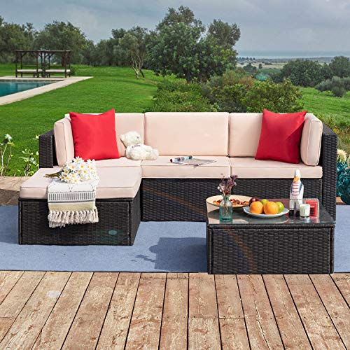 Tuoze 5 Pieces Patio Furniture Sectional Set Outdoor PE Rattan Wicker Lawn Conversation Sets Cushioned Garden Sofa Set with Glass Coffee Table (Beige)