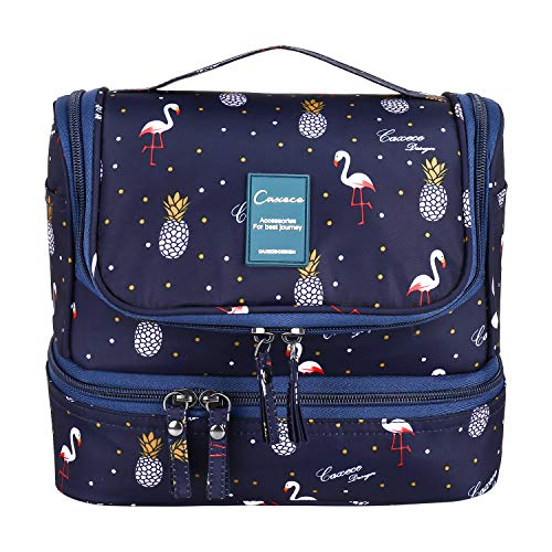 Travel Toiletry Bag Hanging Wash/Shower Bag for Women Cosmetic Bag Oganizer with Handle Make up Bag Toiletry Kit Bag for Travel Accessories (Flamingo-SB)