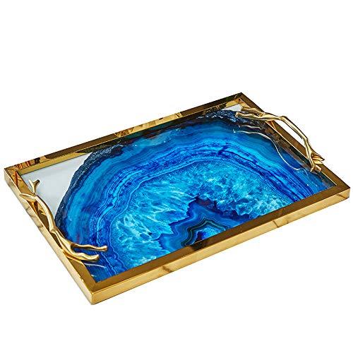 Bandeja decorativa pintada con marco dorado para exhibir, perfume, aparador y sala de estar, elegante bandeja hace un gran regalo (marco dorado A)