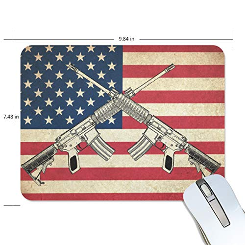 Linomo American Flag Gun Mouse Pad Customized Rectangle Non-Slip Rubber Mousepad Gaming Mouse Pads