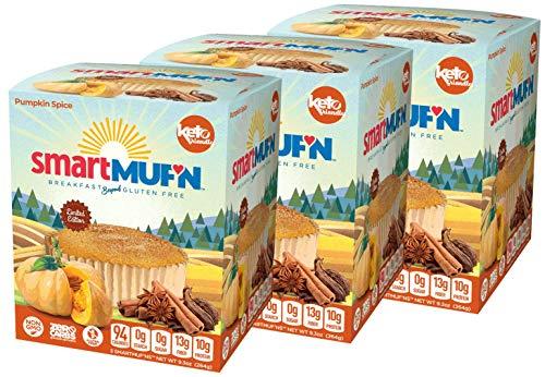 Smart Baking Company Smartmuf'n, Gluten-free, Sugar-free Keto Snack Breakfast Muffin (Pumpkin Spice, 3 Boxes)