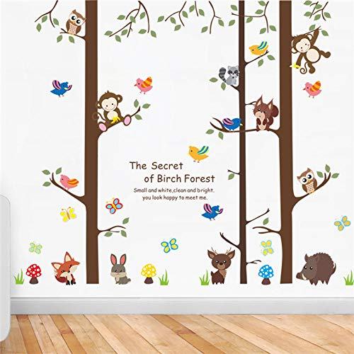 JIAPAI Happily Animals In Birch Forest Wall Stickers For Kindergarten Kids Room Home Art Large Wall Decals Decoration Cartoon Mural
