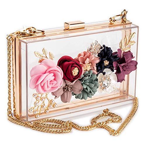 Frauen PVC-Gewebe-Blumen-Kupplungen Umhängetasche Blumengeldbeutel mit Goldkette Perlen Perlen Abendtaschen für Hochzeit Prom Photo Color