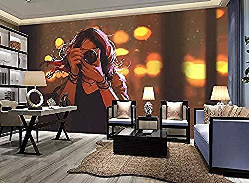 Fotocamera Donna Dipinto a mano moderna murale 3D grigia Adesivo da parete Confine autoadesivo Matto Carta da parati fotomurali poster murale Soggiorno camera letto minimalista tv sfondo-400cm×280cm