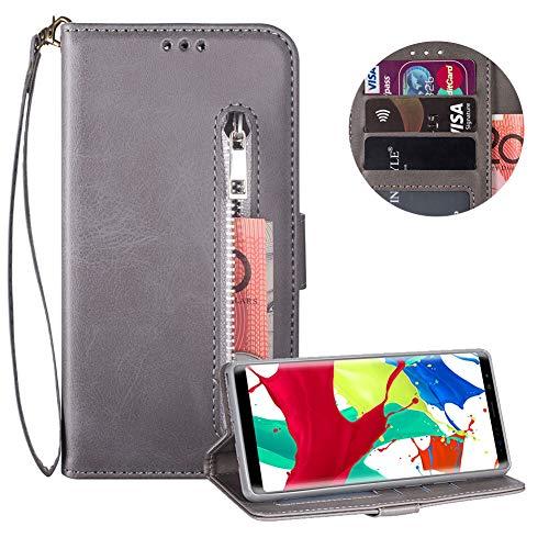 Reißverschluss Brieftasche für Samsung Galaxy Note 8,Gurt Wallet Handyhülle für Samsung Galaxy Note 8,Moiky Klassisch Grau Solide Farbe Klappbar Stand Leder Handytasche