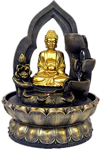 Buddha Tabletop Waterfall Fountain Fengshui Meditation Relaxing Indoor Decoration, Waterfall Kit with Circular Water Flow for Home, Office, Bedroom Decoration