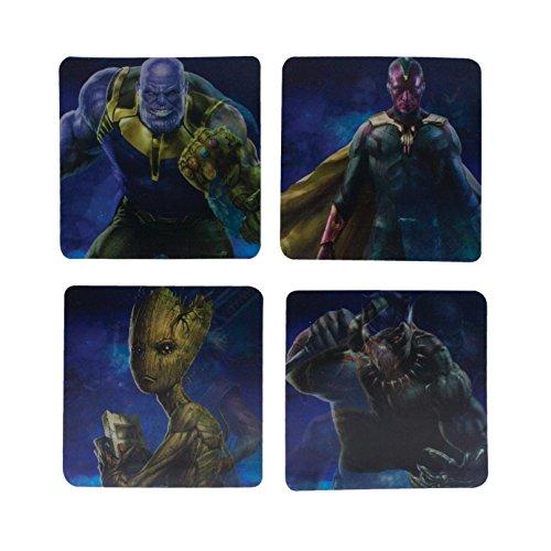 Marvel Avengers Infinity Guerra Lenticular Posavasos, de cartón Duro, Multicolor, 2x 10x 11cm
