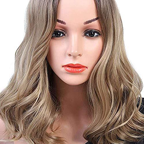 Yuyanshop Peluca corta para mujeres Bob ondulado rizado peluca longitud del hombro Pelo sintético resistente al calor Fibra Pelucas (marrón)