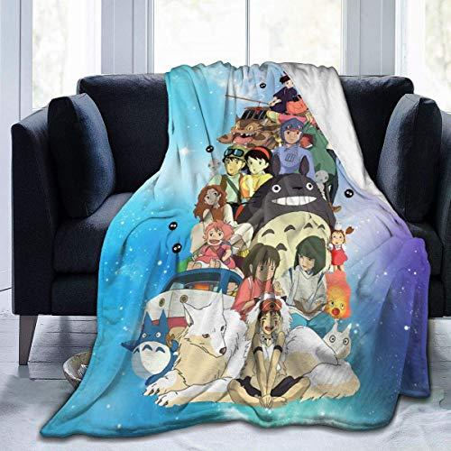 utong Couverture de Flanelle de Films Ghibli Super Doux hypoallergénique en Peluche lit canapé...