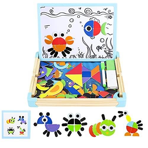 Puzzle de Madera Pizarra Infantil Animal Pizarra Doble Cara Juguetes Montessori Magnetico Rompecabezas Caja de Madera Tablero de Dibujo Puzzle Decoración Juguetes Educativos Juguetes Niños 3 4 5 Año