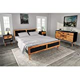 Festnight- Ensemble mobilier de Chambre à Coucher Bois Massif 200 x 180 cm Cadre de lit, 2 Tables de Chevet et 1 Buffet Noir et Marron