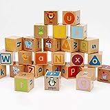 SU Enfants Blocs de Construction Jouets en Bois 26 Lettres 0-6 Ans Puzzle d'illumination de Grosses Particules