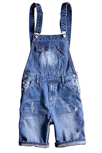 Sokotoo Men's Summer Blue Plus Size Denim Bib Overalls Shorts Size 31
