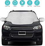 QcoQce Car Windshield Cover, SUV Magnetic Snow Cover, Windscreen Cover with Side Wing Mirror Cover, Frost Guard Pefect Fit for Cars, SUVs and Truck (157×126cm)