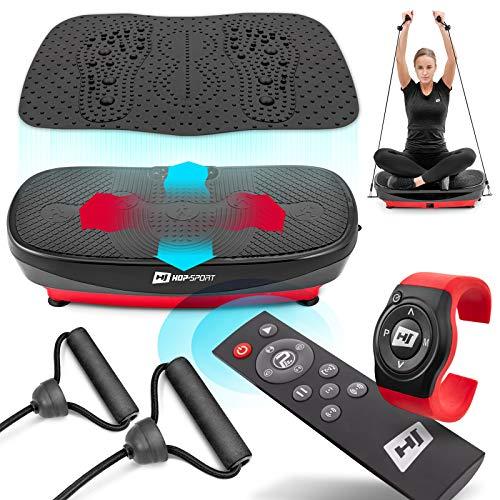 Hop-Sport Plateforme Vibrante Fitness HS-080VS Nexus Pro 3D avec Tapis de Massage et 2 Moteurs, Télécommande, Montre – Perte de Poids