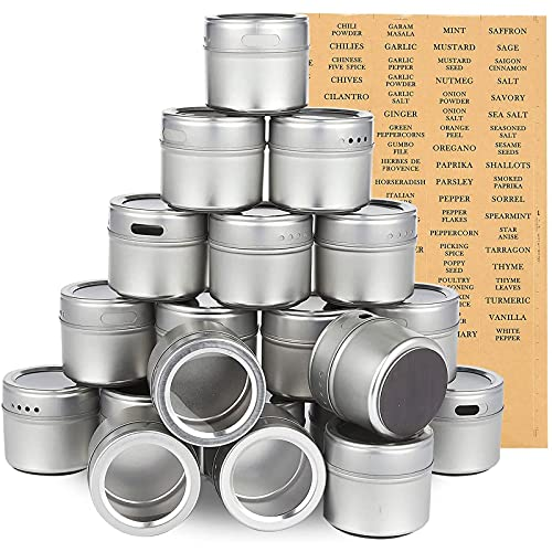 20 Pack Magnetic Spice Jars for Fridge, Seasoning Containers for Organization, Storage with 94 Labels (3.4 Oz)