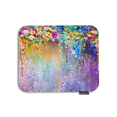 Moslion Floral Mouse Pad Watercolor Painting Colorful Flowers Leaf Gaming Mouse Pad Rubber Large Mousepad for Computer Desk Laptop Happy Father's Day 7.9x9.5 Inch Purple