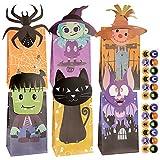 FLOFIA 24pz Sacchetti di Carta Regalo Halloween Borsette di Cartone Regalo con Adesivo Buste di Carta Regalo Caramella Biscotti Dolce Scatole per Feste Halloween 6 Modelli