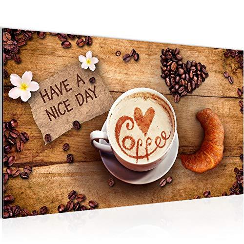 Bild Küche Kaffee Wandbild Vlies - Leinwand Bilder XXL Format Wandbilder Wohnzimmer Wohnung Deko Kunstdrucke Braun 1 Teilig - MADE IN GERMANY - Fertig zum Aufhängen 501214a