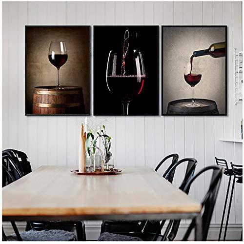 Yangdingyao canvas schilderij vintage wijnglas mok kunst design poster canvas schilderij café huis wijnkelder decor 50 x 70 cm geen lijst