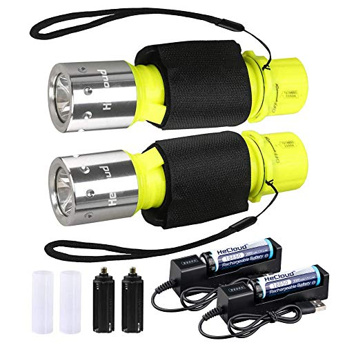 HECLOUD Scuba Diving Flashlight Snorkeling Dive Torch Light IPX8 Waterproof LED Submarine Underwater Lights with Rechargeable 18650 Battery & Charger, High Lumens 3 Modes for Underwater Sports (2Pack)