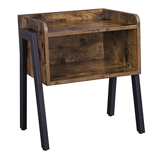VASAGLE Nachttisch, Nachtkommode, Beistelltisch im Industrie-Design, stapelbarer Nachtschrank mit offenem Fach, Retro,...