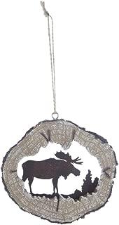 Moose Silhouette Log Cabin Christmas Ornament, Hunting Lodge Woodland Decor
