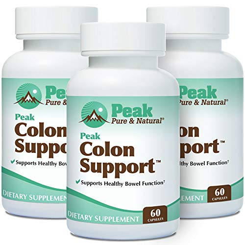 pure colon cleanse products Peak Pure & Natural Peak Colon Support - Colon Support Supplement - Colon Cleanser and Bowel Movement Supplement for Digestive Health | Colon Detox and Cleanse | 60 Capsules (60 Capsules (Pack of 3)