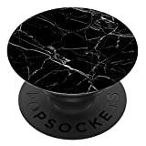 Richmond & Finch PopSocket PopGrip, Support et Grip Universel Extensible pour Tablette ou téléphone. Grip avec Top Interchangeable, Compatible avec Tous Les appareils en marbre Noir - Noir