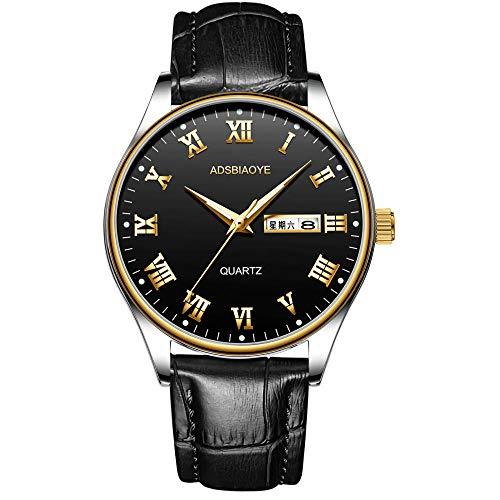 Relojes de Pulsera de Cuarzo analógicos con Fecha Impermeable de Cuero para Hombres-B