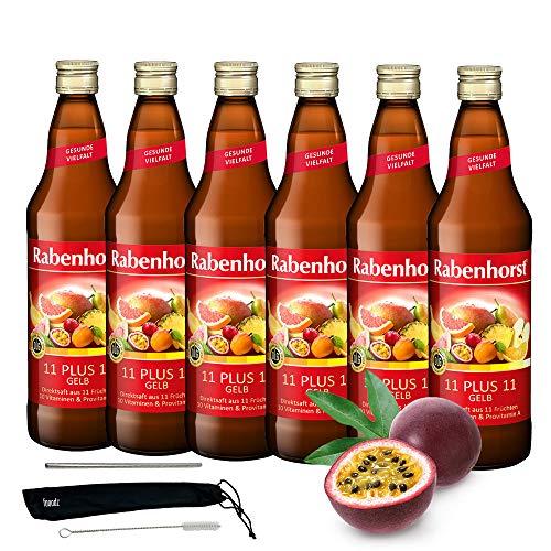 Rabenhorst Saft 11 PLUS 11 gelb 6x 700ml Vegan Gelber Multi-Vitamin Mehrfrucht-Direktsaft mit 10 Vitaminen und Provitamin A PLUS fooodz-Trinkhalm Set mit Reinigungsbürste